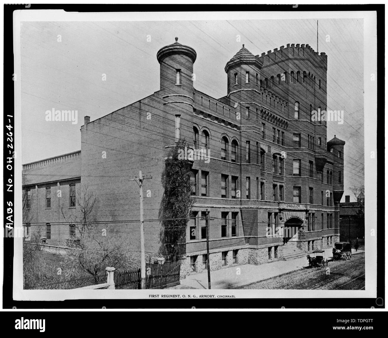 from 'Selections from Executed Work and Sketches,' Hannaford and Sons, Architects, circa 1893 VIEW NORTHWEST, SOUTH AND EAST (FRONT) ELEVATIONS - Ohio National Guard Armory, 1417-1437 Western Avenue, Cincinnati, Hamilton County, OH Stock Photo