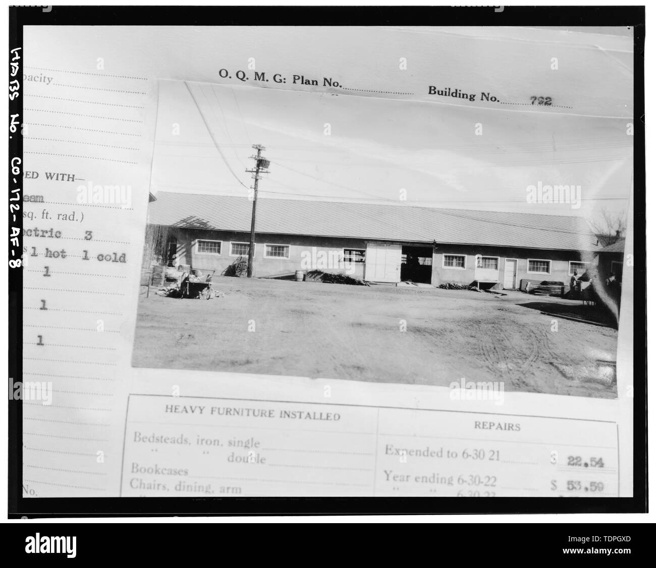 df0195dcd6829 in Fitzsimons Army Medical Center Real Property Book (green cloth cover).  Photograph of south side before perpendicular wing added.