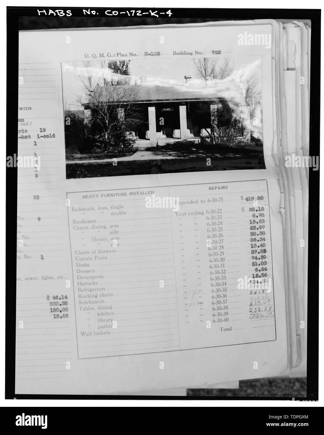 a1956e2a201eb in Fitzsimons Army Medical Center Real Property Book (green cloth cover),  south sides. - Fitzsimons General Hospital, Officer Recreation Building, ...