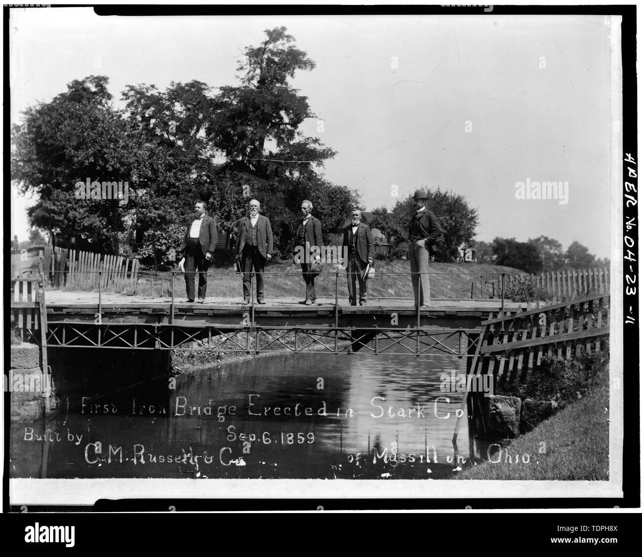 1859 FIRST IRON BRIDGE AT THIRD STREET S.E. BRIDGE SITE (Courtesy of the Ramsayer Library, Stark County Historical Society) - Third Street Southeast Bridge, Spanning Nimishillen Creek, Canton, Stark County, OH - Stock Image