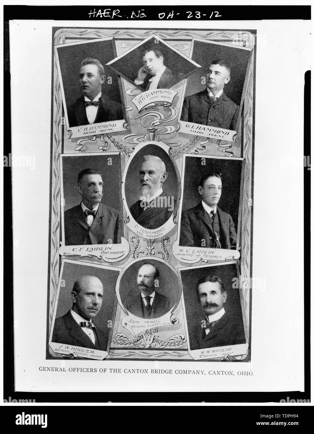1902 GENERAL OFFICERS OF CANTON BRIDGE COMPANY (Courtesy of the Ramsayer Library, Stark County Historical Society) - Third Street Southeast Bridge, Spanning Nimishillen Creek, Canton, Stark County, OH Stock Photo