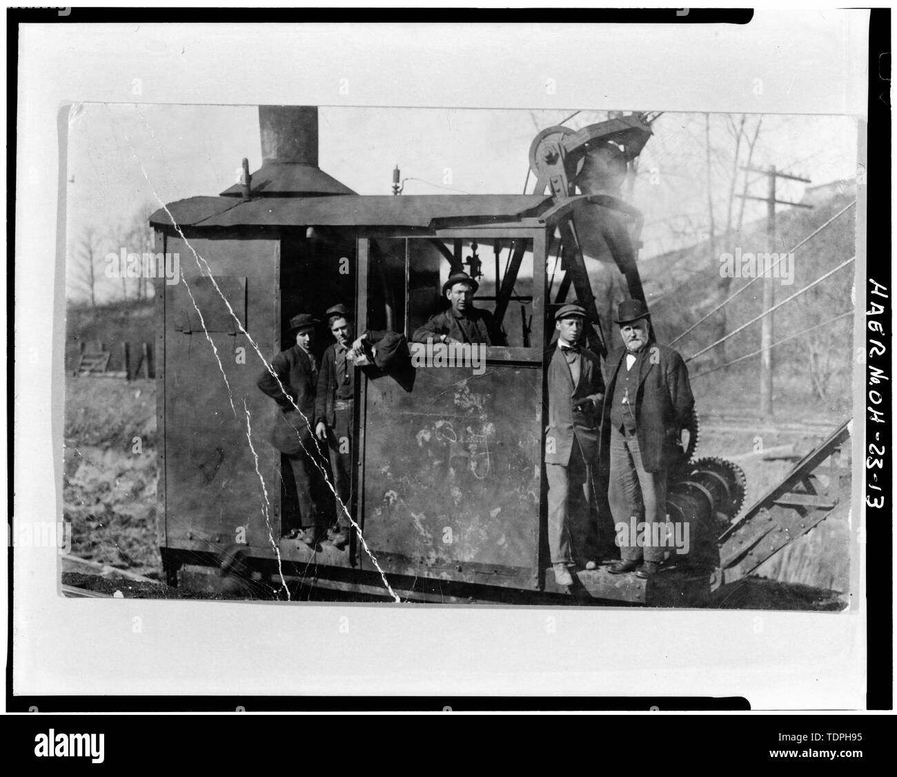 1910 STEAM-POWERED CONSTRUCTION EQUIPMENT (From the private collection of Mrs. Alice S. Landor, Canton, OH) - Third Street Southeast Bridge, Spanning Nimishillen Creek, Canton, Stark County, OH - Stock Image