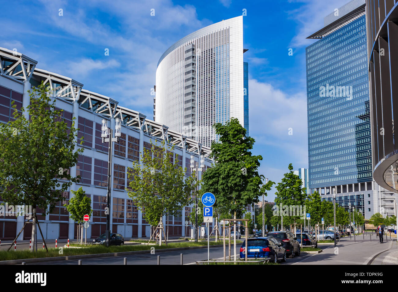 Tall Buildings of a street in the urban area of Frankfurt Germany - Stock Image