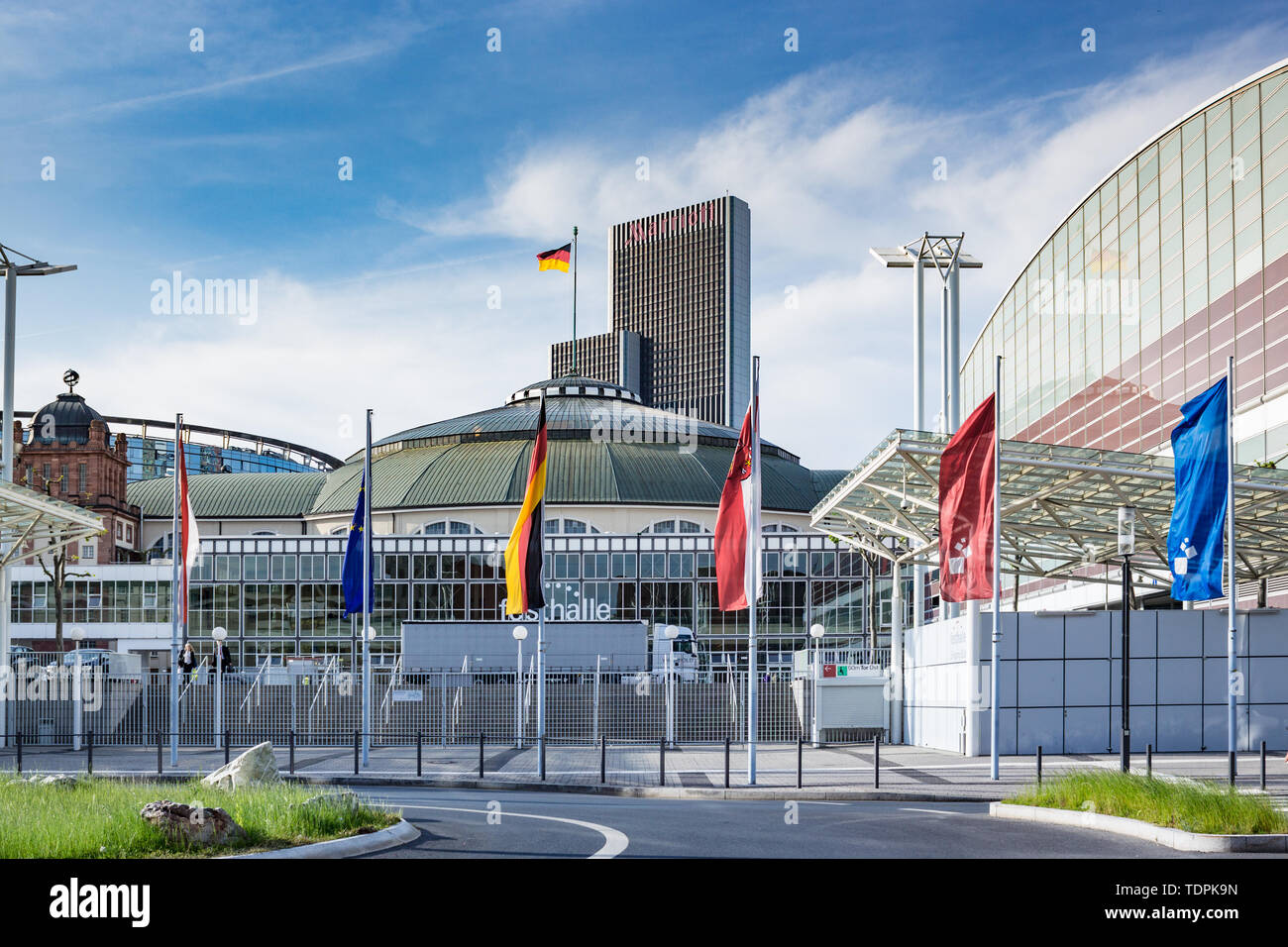 Picture of the Festhalle Messe in Frankfurt where the Fair is held every week Stock Photo