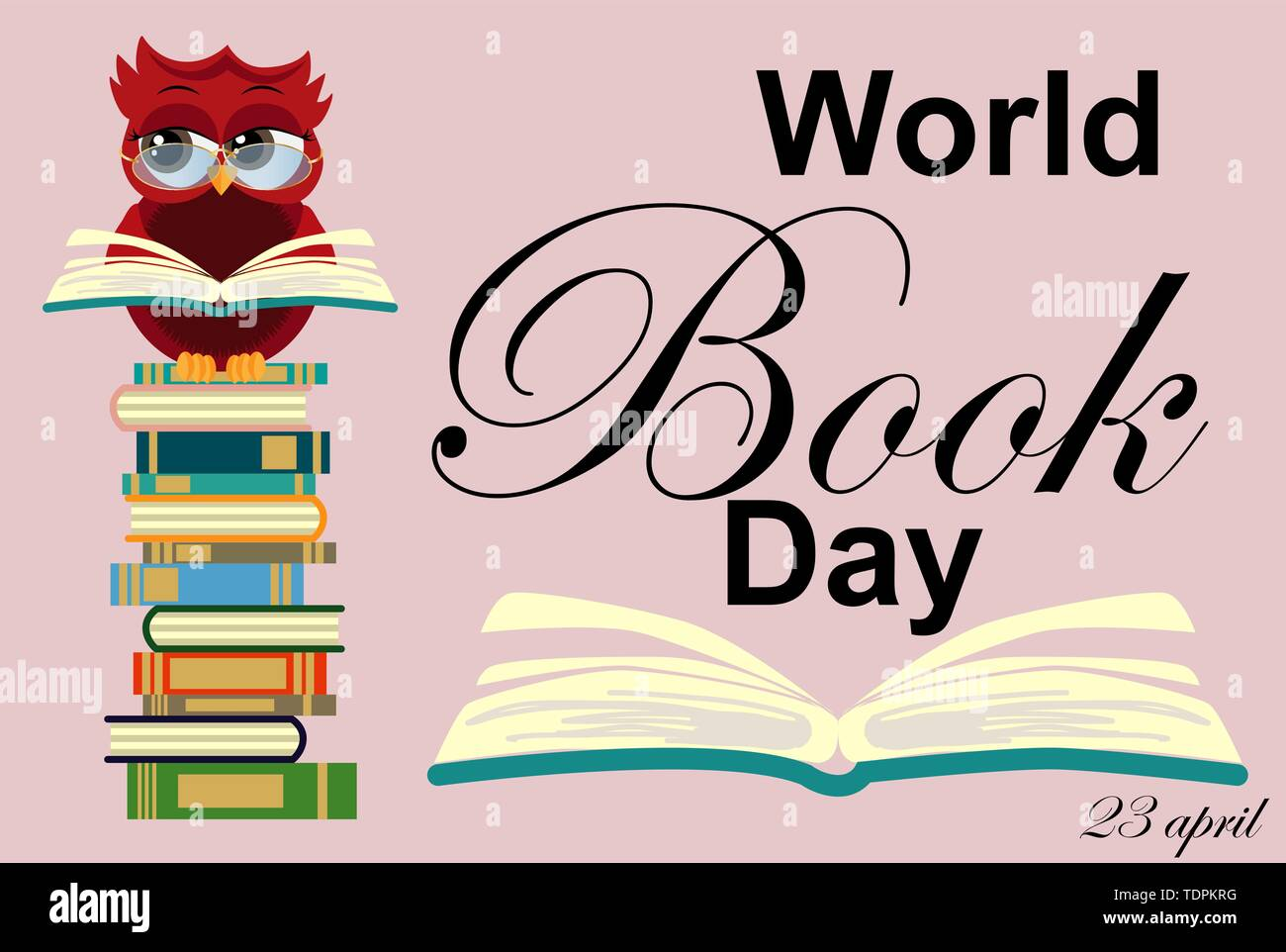 World book day. Smart owl on stack of books, open book and lettering on teal background. Knowledge, education, studying, learning - Stock Vector