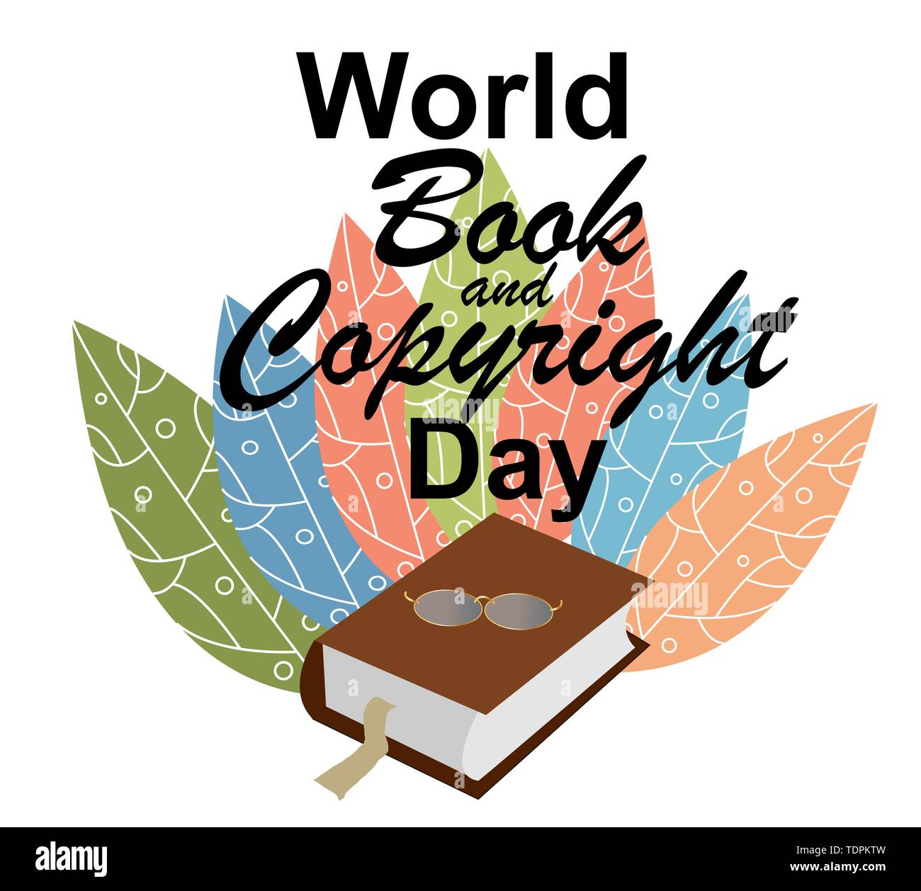 illustration of stylish text for World Book Day. - Stock Vector