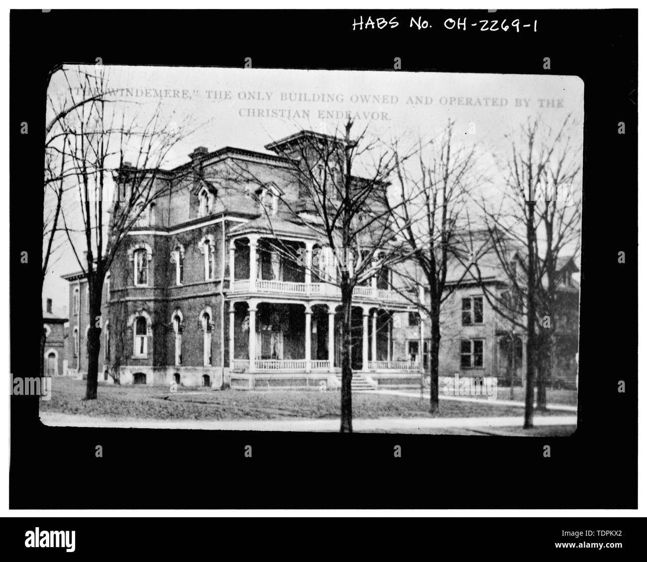 Photocopy of postcard, c. 1912 VIEW NORTHEAST, WEST AND SOUTH (FRONT) ELEVATIONS - Dimon Sturges House, 114 Park Avenue West, Mansfield, Richland County, OH - Stock Image