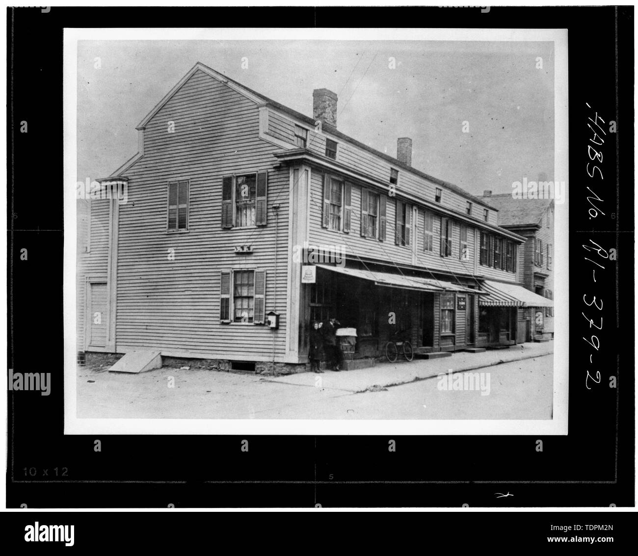 Photocopy of unattributed circa 1910 photograph, source not noted. VIEW FROM THE SOUTHEAST CIRCA 1910 - Hazard Block, 405-411 Thames Street, Newport, Newport County, RI - Stock Image