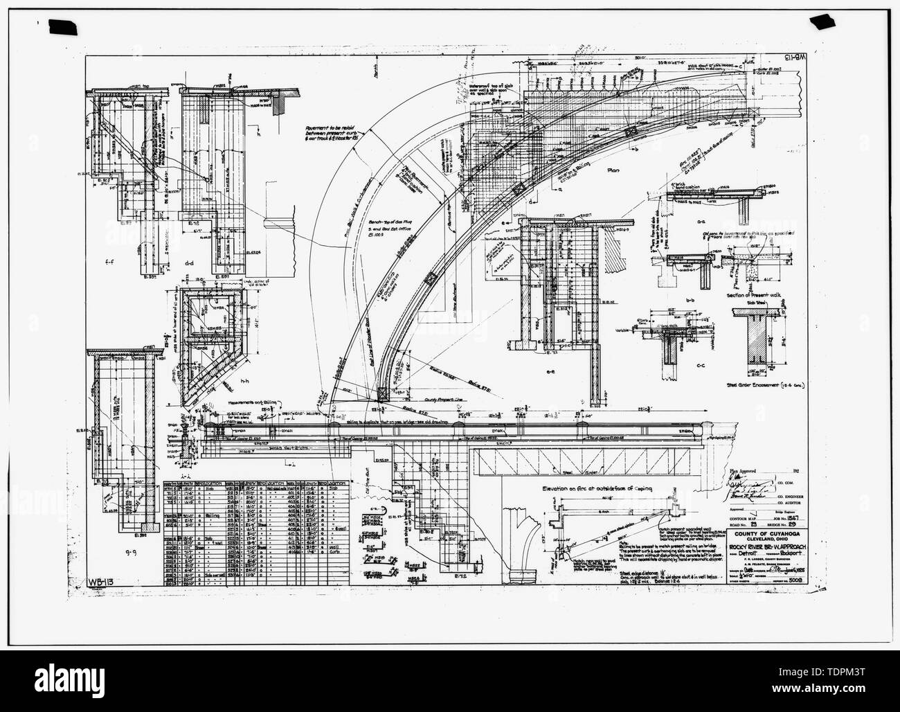 Photocopy on engineering drawing (original in the Office of the Cuyahoga County Engineer)-1925 ROCKY RIVER BRIDGE-WEST APPROACH - Rocky River Bridge, Spanning Beaver Dam River, Rocky River, Cuyahoga County, OH Stock Photo