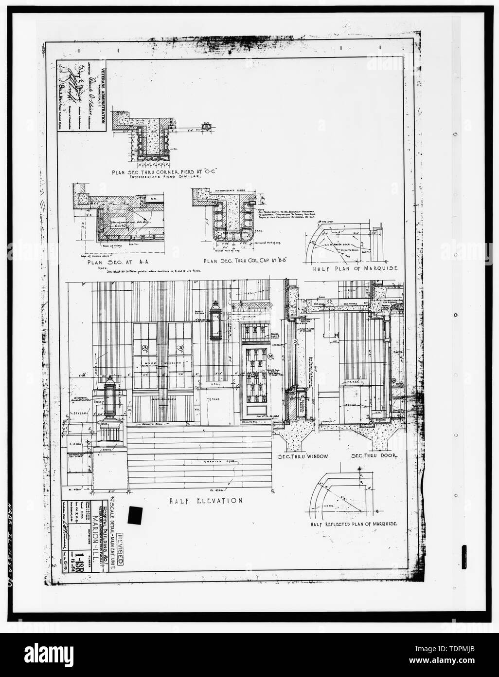 Photograph of a line drawing in the possession of the Engineer's Office of the Marion, IL Veterans Administration Medical Center. 3-4' SCALE DETAIL - MAIN ENT. UNIT (PLAN SECTIONS, HALF ELEVATION, SECTIONS THROUGH WINDOW and DOOR. HALF PLAN and HALF REFLECTED PLAN OF MARQUISE); DRAWING 1-13R, DATED SEPTEMBER 4, 1940. - Veterans Administration Medical Center, Building No. 1, Old State Route 13 West, Marion, Williamson County, IL; U.S. Department of Veterans Affairs; Ryan, Robert A, historian; Dennett, Muesig, Ryan and Associates, Ltd., historian; Ryan, Robert A, photographer; Harms, Bruce A, ph - Stock Image