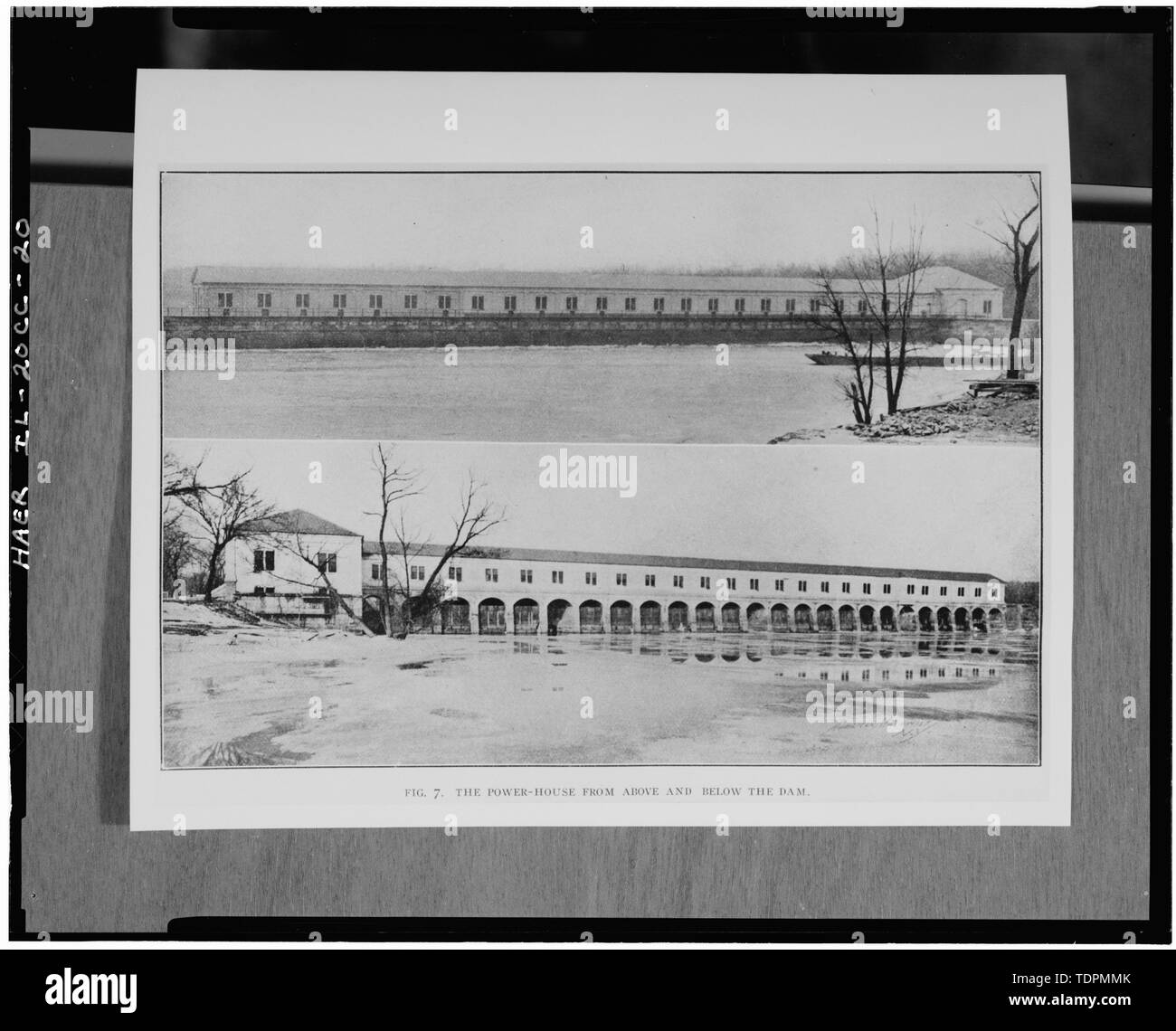 Photograph of a photograph in possession of Rock Island Arsenal Historical Office. NORTH (ABOVE) AND SOUTH (BELOW) ELEVATIONS AFTER CONSTRUCTION OF 1903 ADDITION TO EAST ELEVATION. ORIGINALLY PUBLISHED IN 1905. - Rock Island Arsenal, Building No. 160, Sylvan Drive, Rock Island, Rock Island County, IL; Central Engineering Company of Davenport - Stock Image