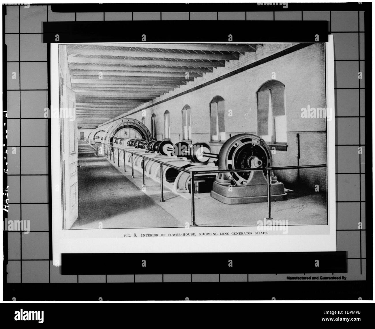 Photograph of a photograph in possession of Rock Island Arsenal Historical Office. ORIGINAL HORIZONTAL SHAFTING OF GENERAL ELECTRIC GENERATORS. ORIGINALLY PUBLISHED IN 1905. - Rock Island Arsenal, Building No. 160, Sylvan Drive, Rock Island, Rock Island County, IL; Central Engineering Company of Davenport - Stock Image