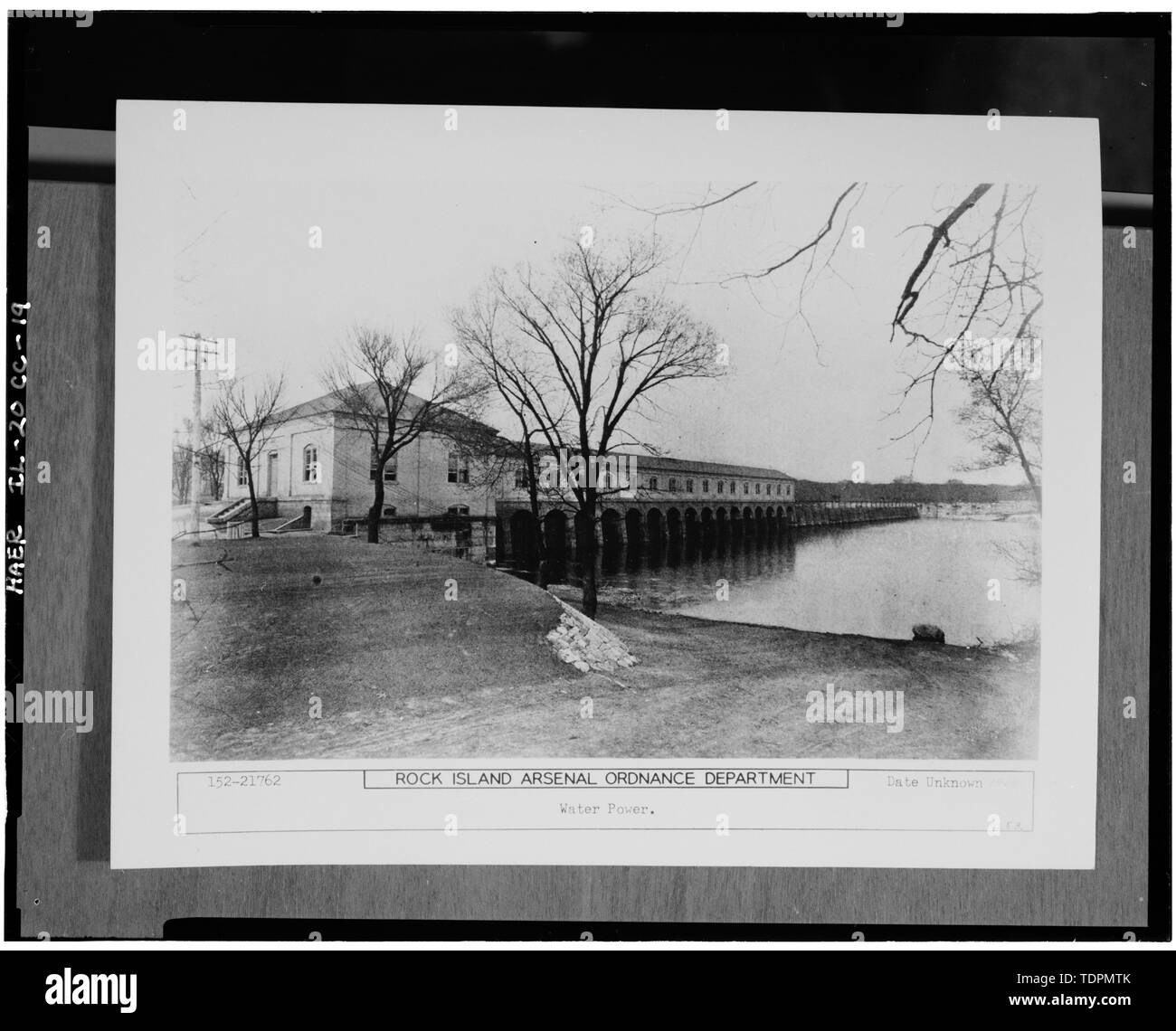 Photograph of a photograph in possession of Rock Island Arsenal Historical Office. WEST AND SOUTH ELEVATIONS BEFORE 1903 ADDITION TO EAST ELEVATION. UNDATED. - Rock Island Arsenal, Building No. 160, Sylvan Drive, Rock Island, Rock Island County, IL; Central Engineering Company of Davenport - Stock Image