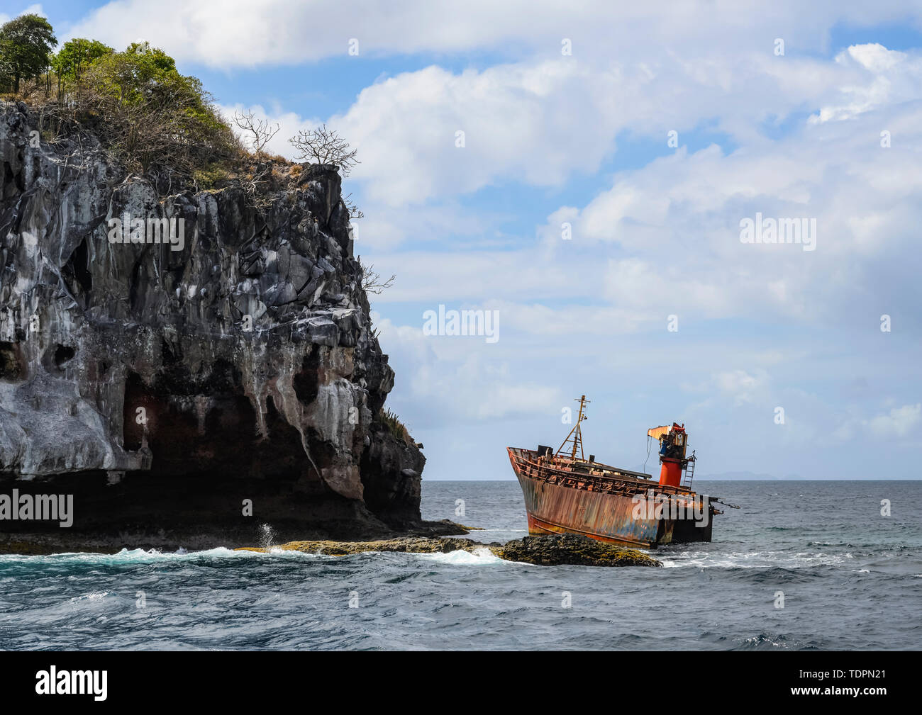 Shipwreck off the island of St Vincent in the Caribbean; Saint Vincent and the Grenadines Stock Photo