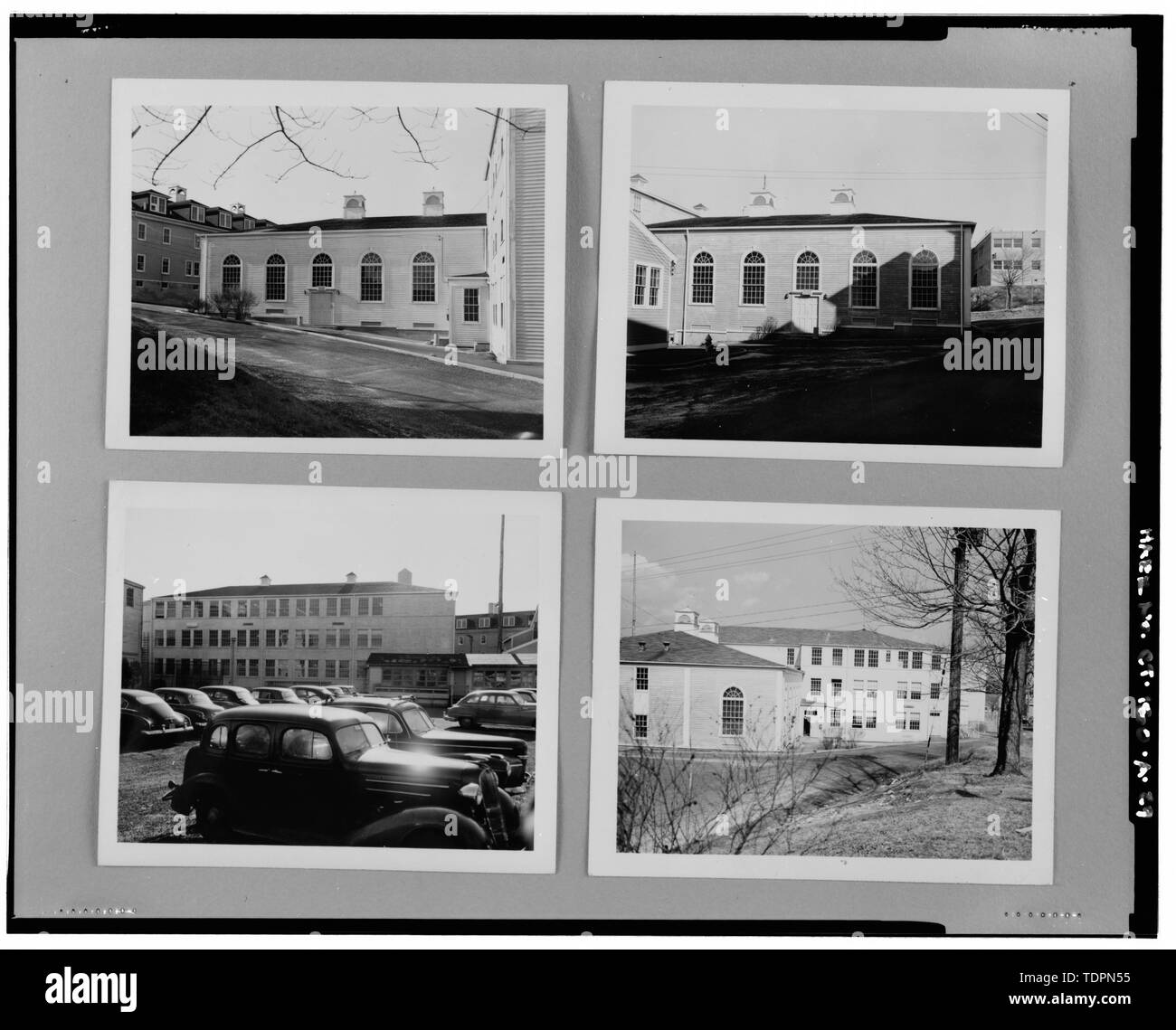 Photograph of four historic views of exterior of Bowditch Hall, c. 1950, taken from album in building photo files in Caretaker Site Office, Naval Undersea Warfare Center, New London. Copyright-free. - Naval Undersea Warfare Center, Bowditch Hall, 600 feet east of Smith Street and 350 feet south of Columbia Cove, West bank of Thames River, New London, New London County, CT - Stock Image