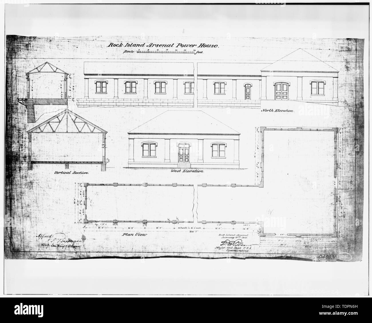 Photograph of line drawing in possession of Engineering Plans and Services Division, Rock Island Arsenal. ELEVATION, PLAN, AND SECTION, 1900. - Rock Island Arsenal, Building No. 160, Sylvan Drive, Rock Island, Rock Island County, IL; Central Engineering Company of Davenport - Stock Image