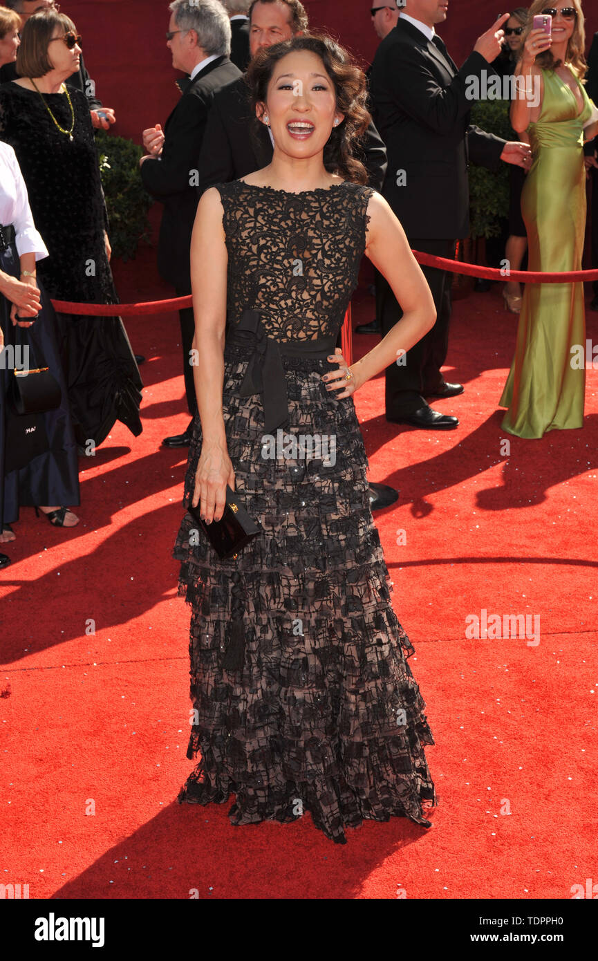 LOS ANGELES, CA. September 21, 2008: Sandra Oh at the 2008 Primetime Emmy Awards at the Nokia Live Theatre.  © 2008 Paul Smith / Featureflash Stock Photo