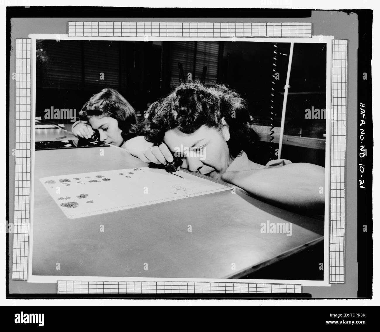 Photographic copy of photograph (original print in possession of William Langer Jewel Bearing Plant, Rolla, North Dakota). FINAL INSPECTION - Turtle Mountain Ordnance Plant, 213 First Street Northwest, Rolla, Rolette County, ND - Stock Image
