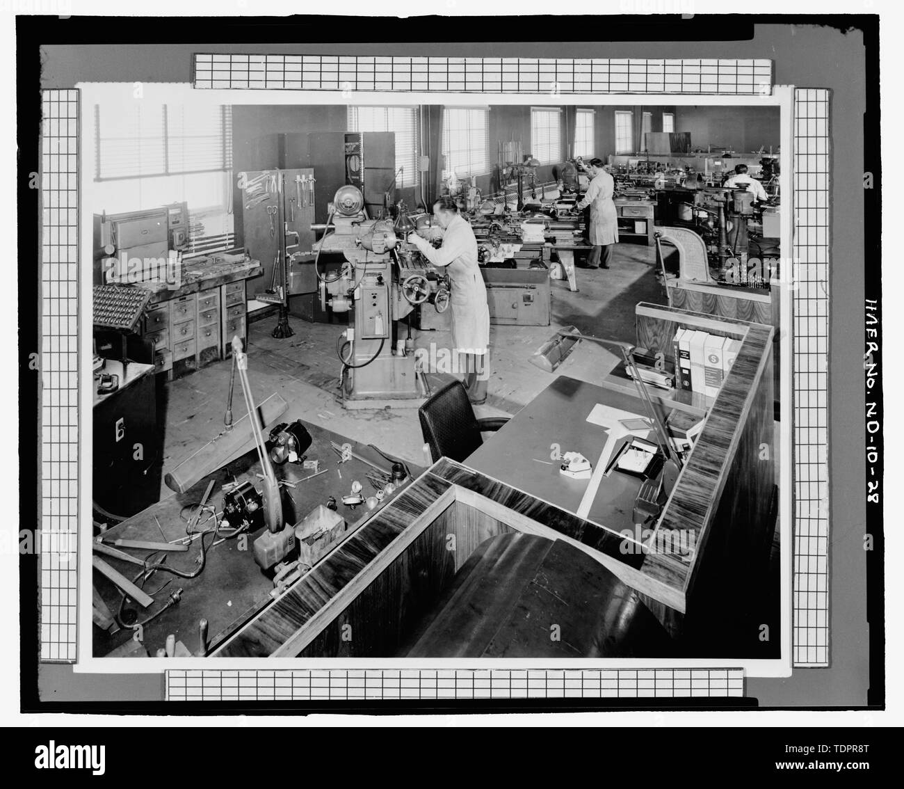 Photographic copy of photograph (original print in possession of William Langer Jewel Bearing Plant, Rolla, North Dakota). MACHINE SHOP - Turtle Mountain Ordnance Plant, 213 First Street Northwest, Rolla, Rolette County, ND - Stock Image