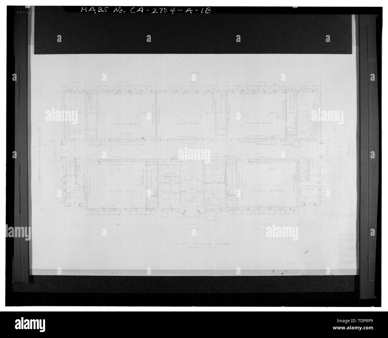 Photographic copy of reproduced original construction drawing. FIRST FLOOR PLAN - Beverly Vista School, Administration Building, 200 South Elm Drive, Beverly Hills, Los Angeles County, CA Stock Photo