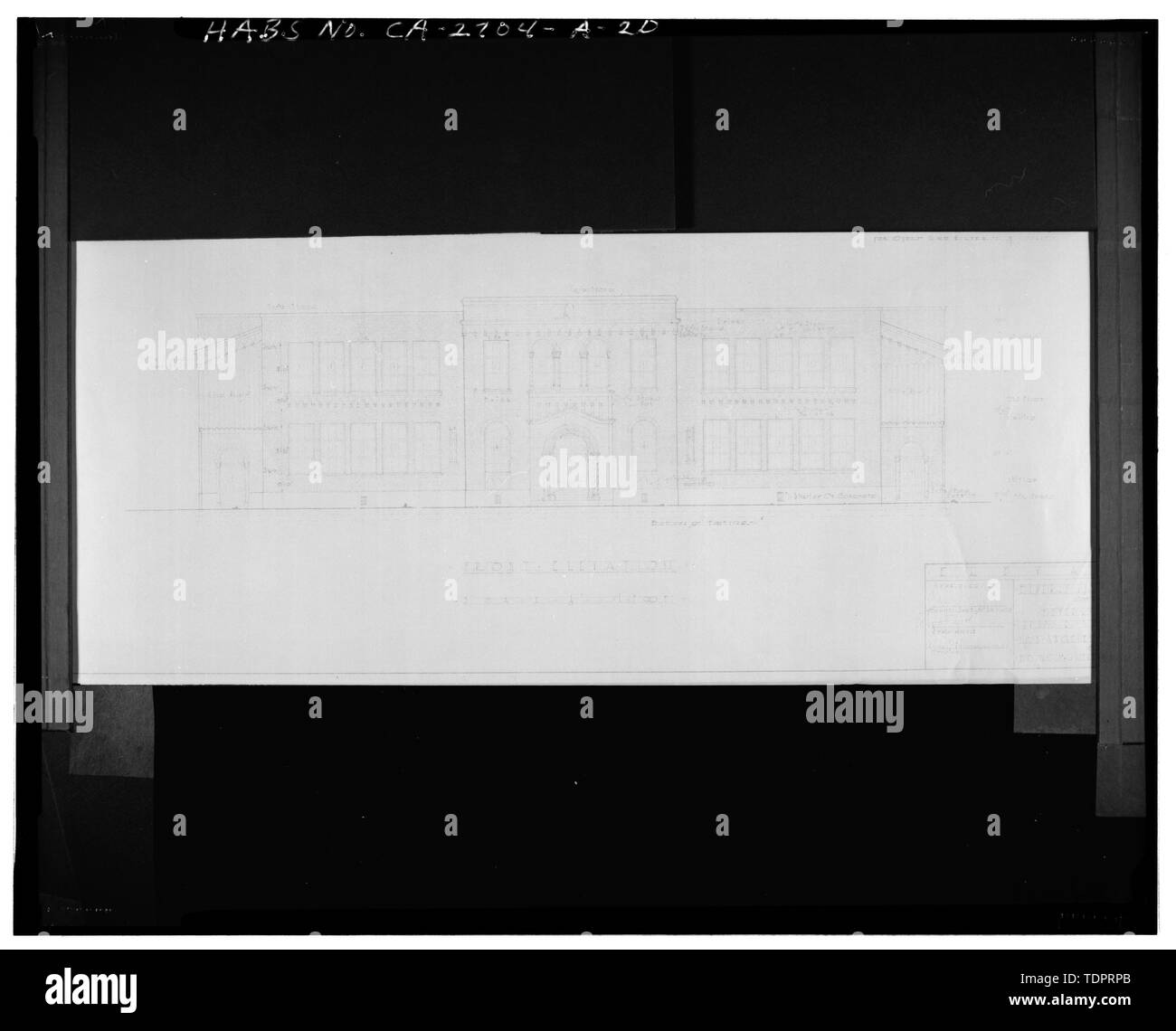 Photographic copy of reproduced original construction drawing. FRONT (WEST) ELEVATION - Beverly Vista School, Administration Building, 200 South Elm Drive, Beverly Hills, Los Angeles County, CA Stock Photo