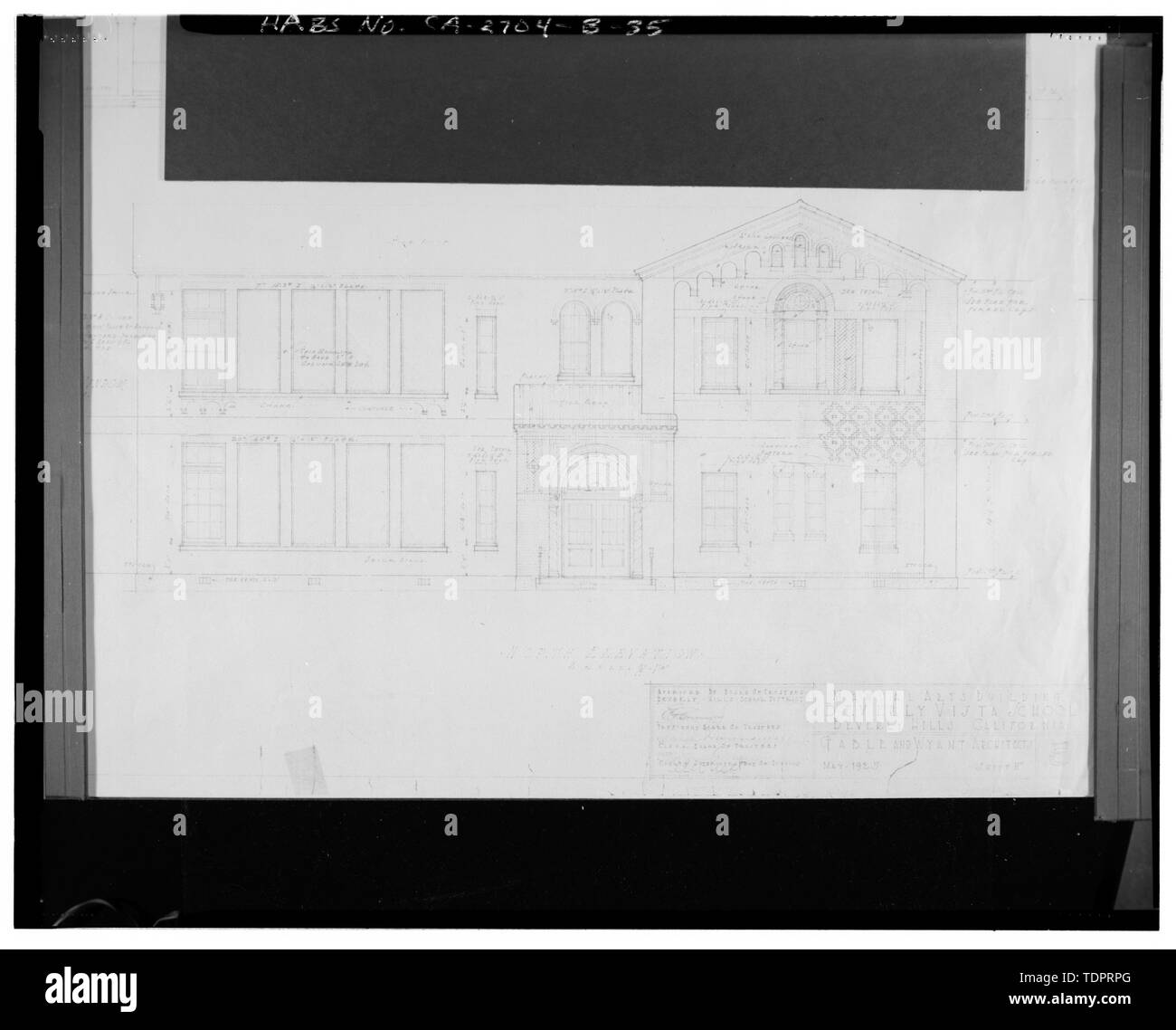 Photographic copy of reproduced original construction drawing. NORTH ELEVATION - Beverly Vista School, Manual Arts and Classroom Building, 200 South Elm Drive, Beverly Hills, Los Angeles County, CA Stock Photo