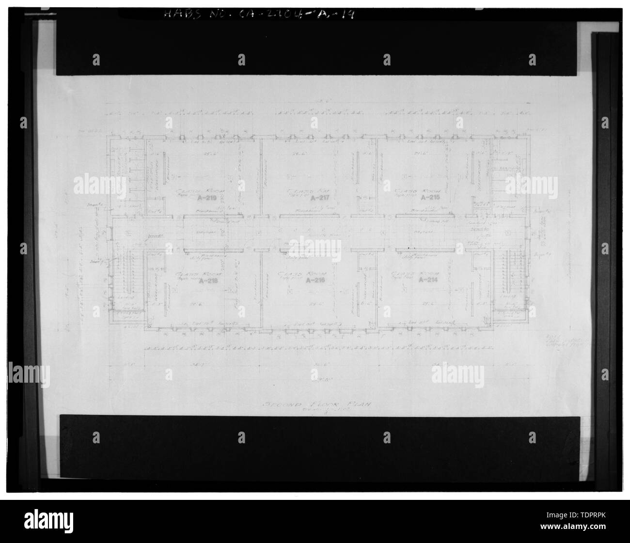 Photographic copy of reproduced original construction drawing. SECOND FLOOR PLAN - Beverly Vista School, Administration Building, 200 South Elm Drive, Beverly Hills, Los Angeles County, CA Stock Photo