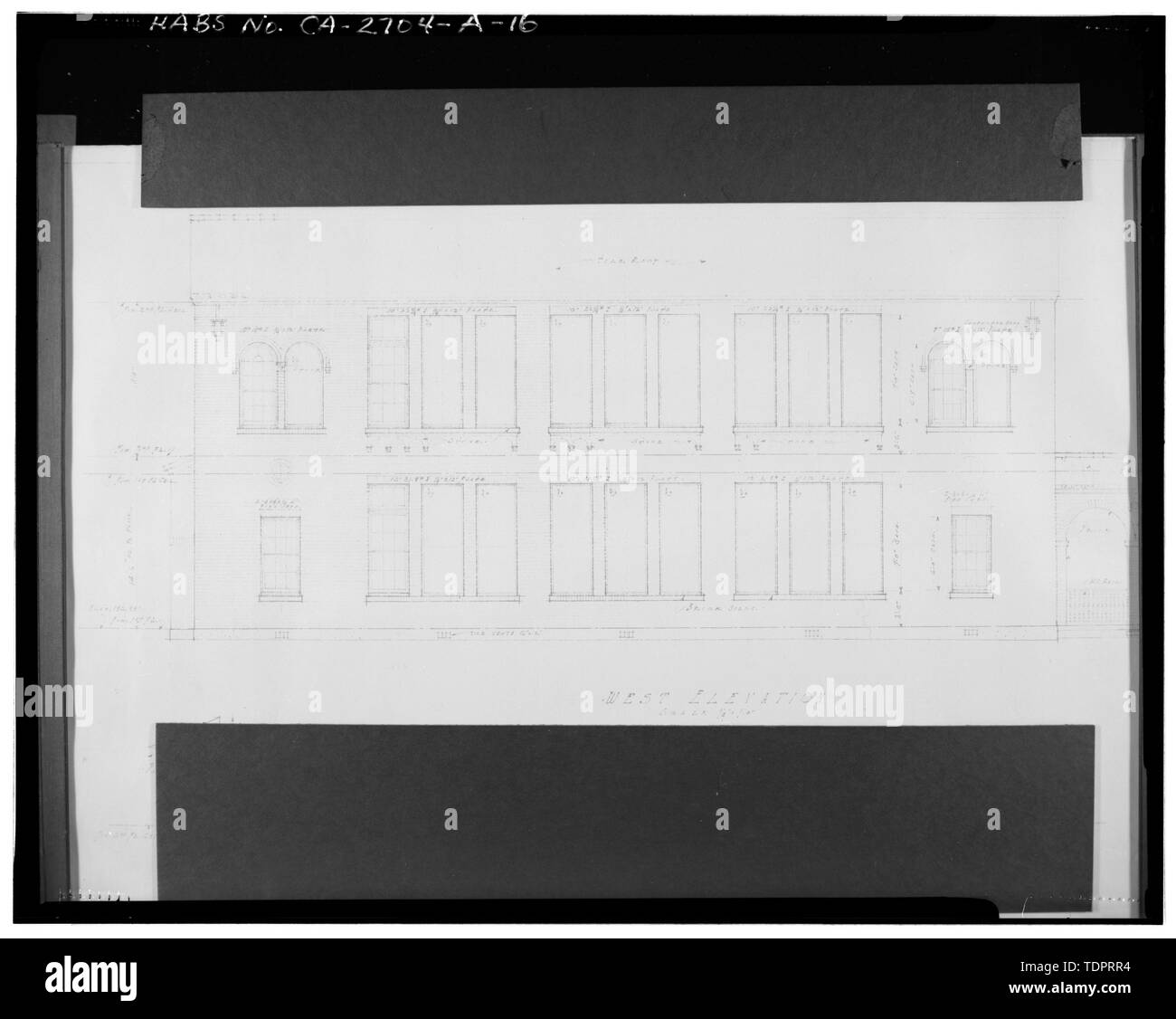 Photographic copy of reproduced original construction drawing. WEST ELEVATION - Beverly Vista School, Administration Building, 200 South Elm Drive, Beverly Hills, Los Angeles County, CA Stock Photo