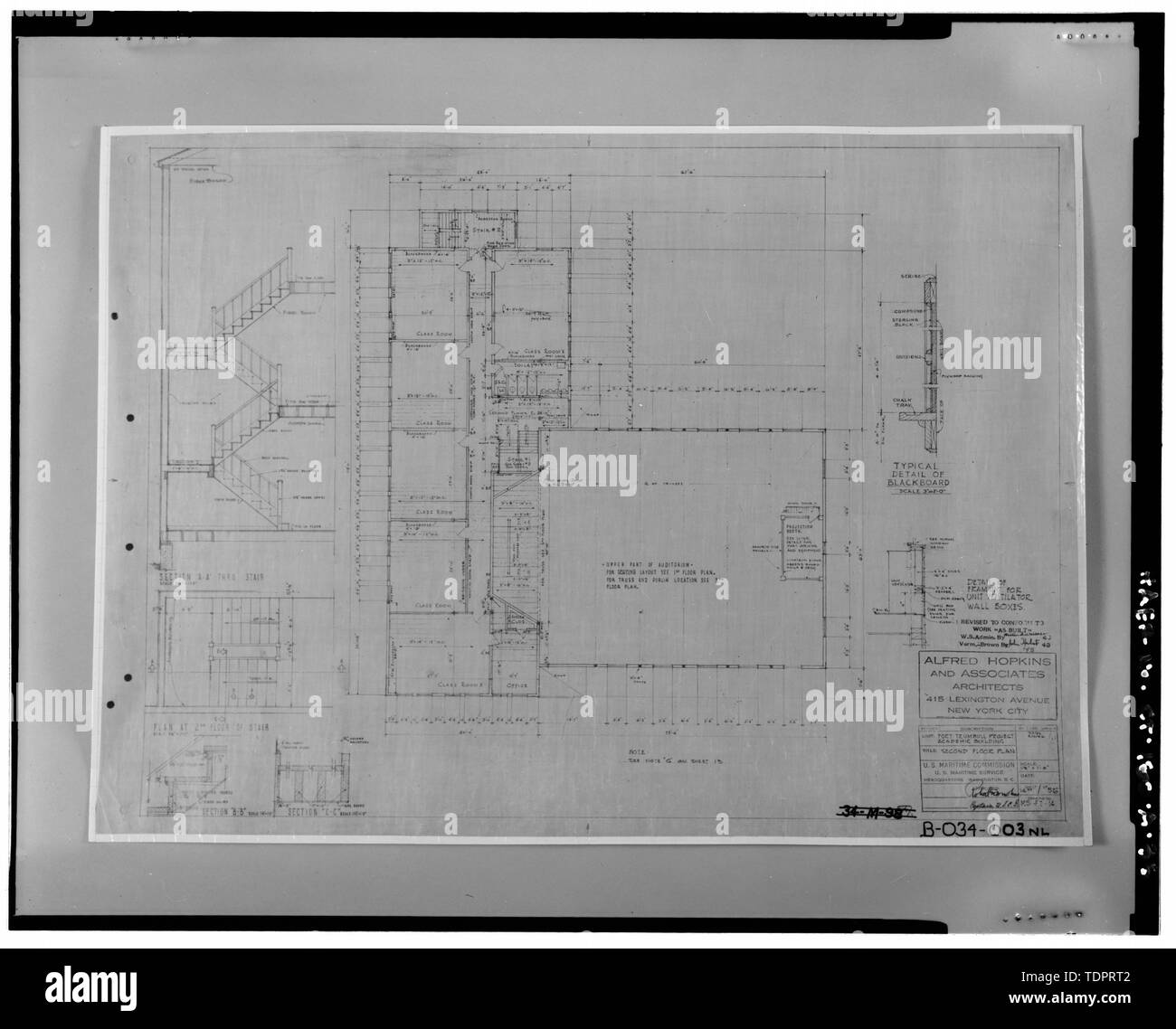 Photographic copy of second floor plan of Bowditch Hall, Alfred Hopkins and Associates, 1943. Drawing on file at Caretaker Site Office, Naval Undersea Warfare Center, New London. Copyright-free. - Naval Undersea Warfare Center, Bowditch Hall, 600 feet east of Smith Street and 350 feet south of Columbia Cove, West bank of Thames River, New London, New London County, CT - Stock Image