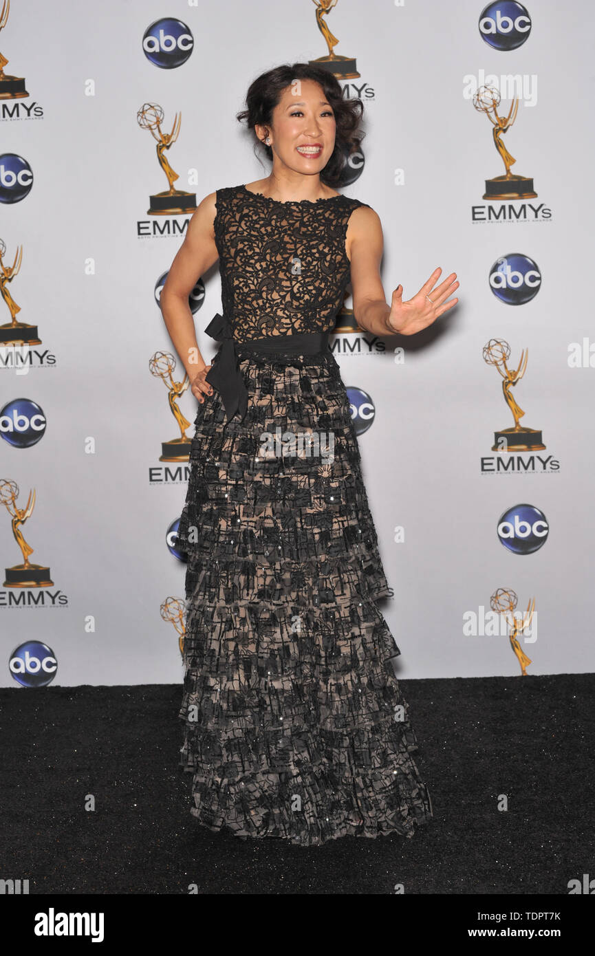 LOS ANGELES, CA. September 21, 2008: Sandra Oh at the 2008 Primetime Emmy Awards at the Nokia Live Theatre.  © 2008 Paul Smith / Featureflash - Stock Image
