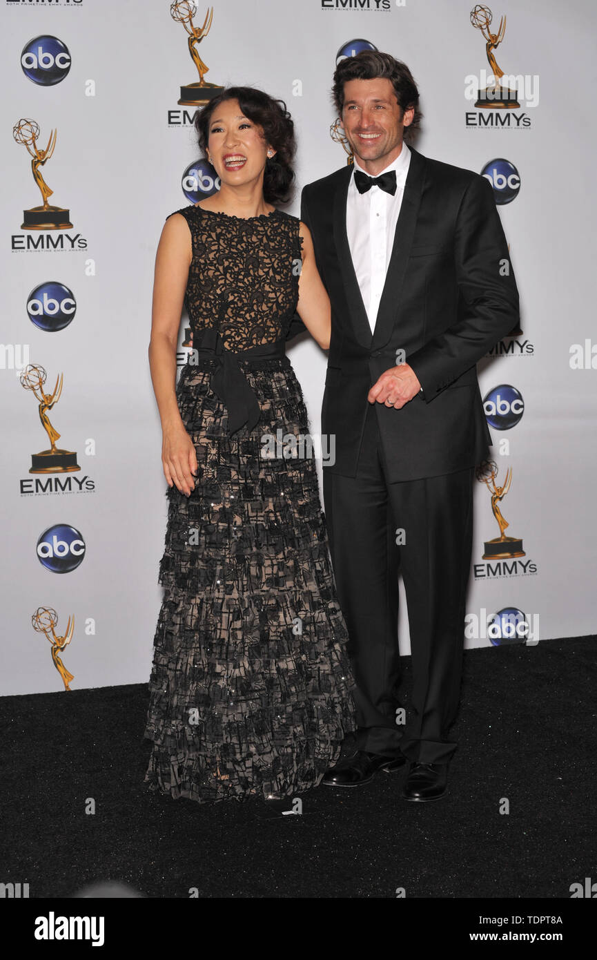 LOS ANGELES, CA. September 21, 2008: Sandra Oh & Patrick Dempsey at the 2008 Primetime Emmy Awards at the Nokia Live Theatre.  © 2008 Paul Smith / Featureflash Stock Photo