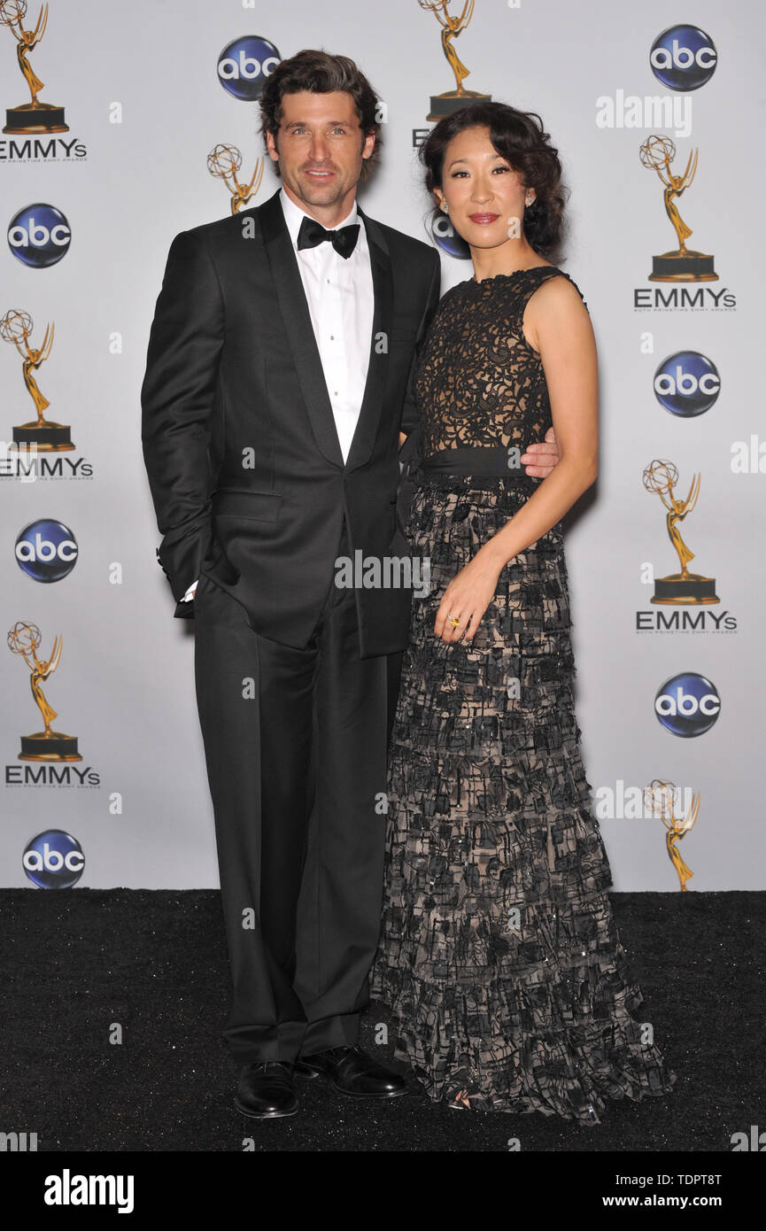 LOS ANGELES, CA. September 21, 2008: Sandra Oh & Patrick Dempsey at the 2008 Primetime Emmy Awards at the Nokia Live Theatre.  © 2008 Paul Smith / Featureflash - Stock Image