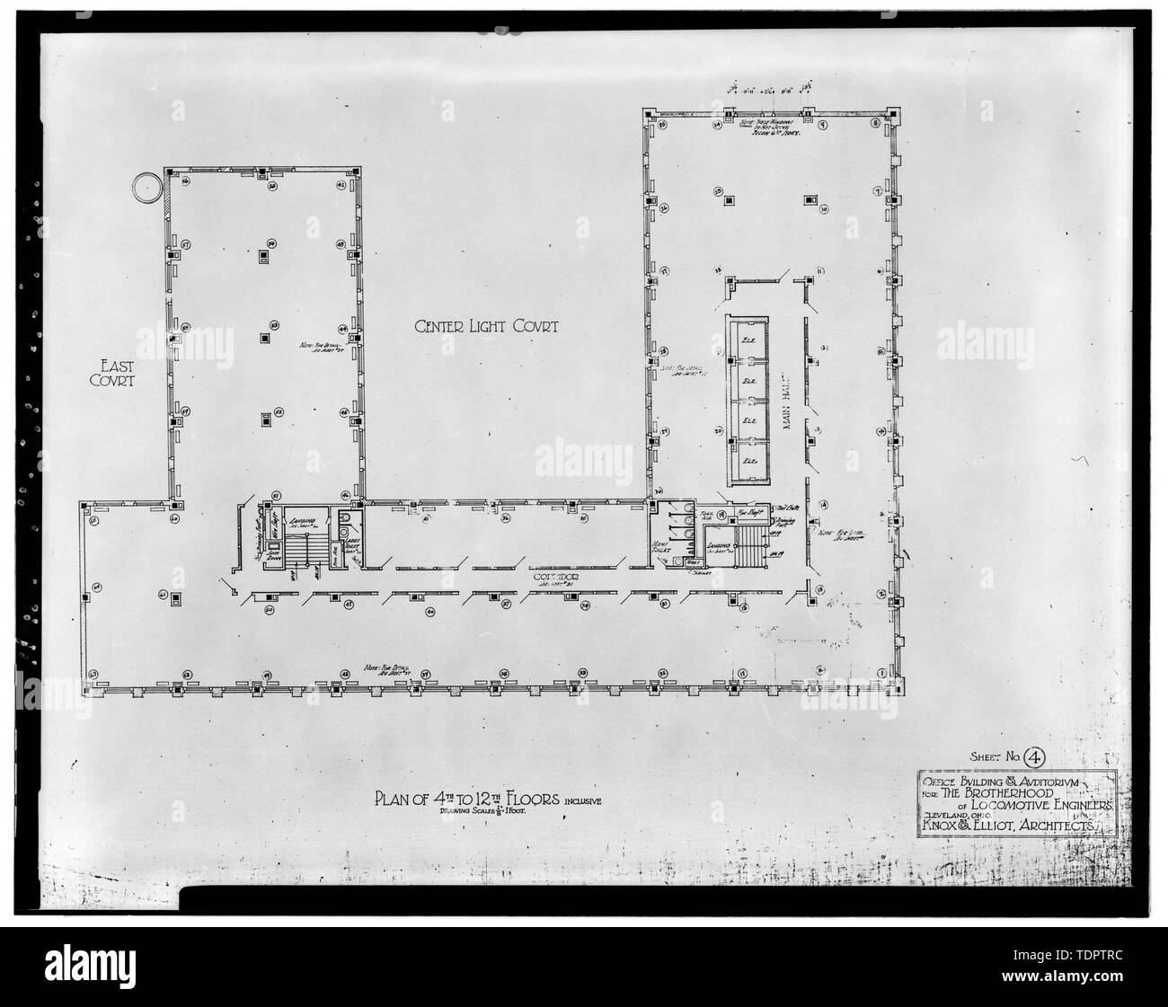 Plan of 4th to 12th Floors, Inclusive - Brotherhood of Locomotive Engineers Building, 1365 Ontario Street, Cleveland, Cuyahoga County, OH - Stock Image