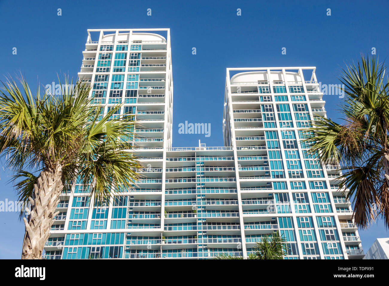 Miami Beach Florida Collins Avenue Carillon Residences North Tower hotel resort wellness spa formerly Canyon Ranch high rise luxury condominiums build Stock Photo