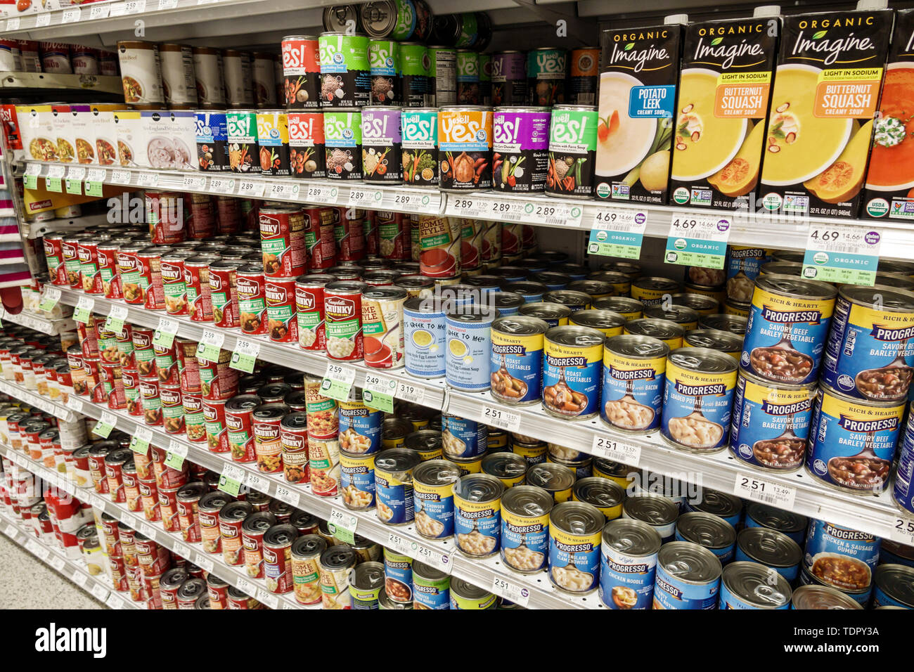 Miami Beach North Beach Publix grocery store supermarket inside display sale soup cans Progresso Campbell Chunky organic cartons shelves - Stock Image