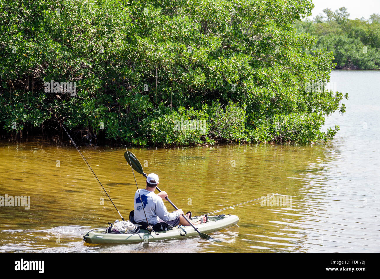 Sanibel Island Florida J.N. Ding Darling National Wildlife Refuge environmental conservation education Wildlife Drive trail kayak fisherman rowing man mangrove - Stock Image