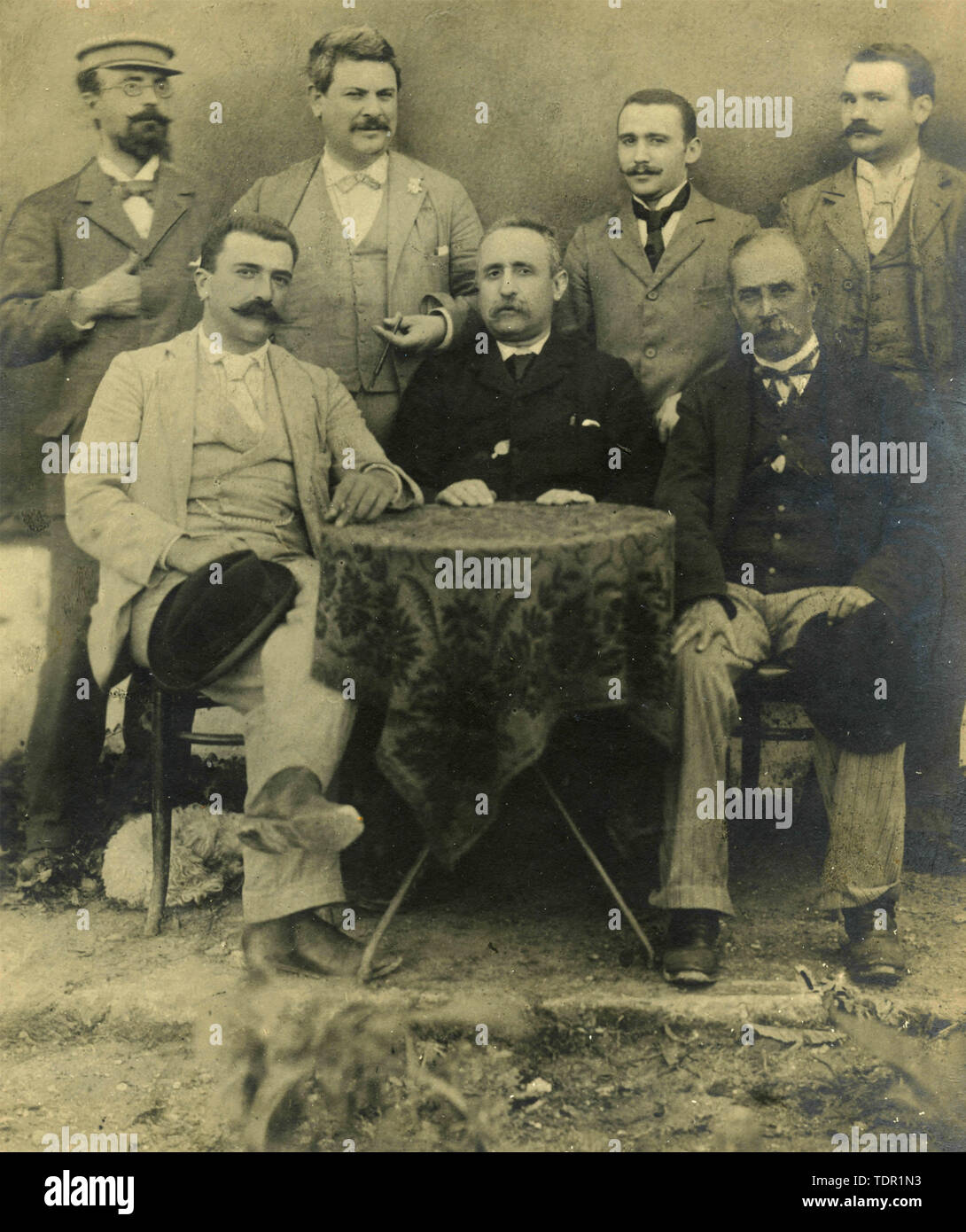 Group of notables at Villa Urso, Ugento, Italy 1900s Stock Photo