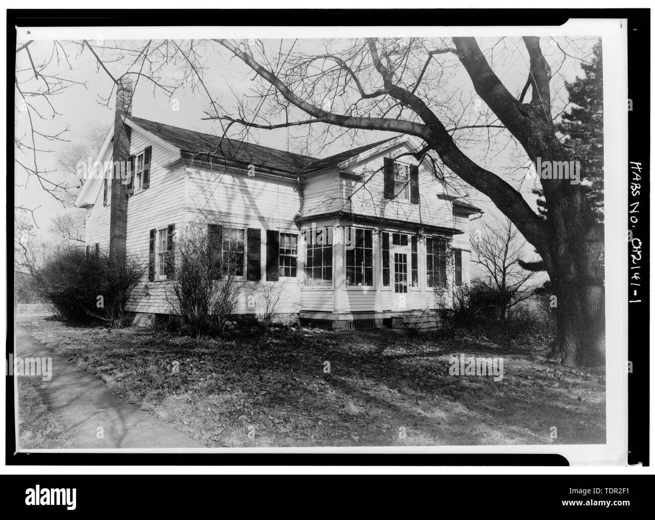 Photograph of photograph by Steckel Photographers, February 10, 1973. Original print in Field Records. SOUTHWEST ELEVATION. - Abbott-Page House, Mason Road, State Route 13 vicinity, Milan, Erie County, OH - Stock Image