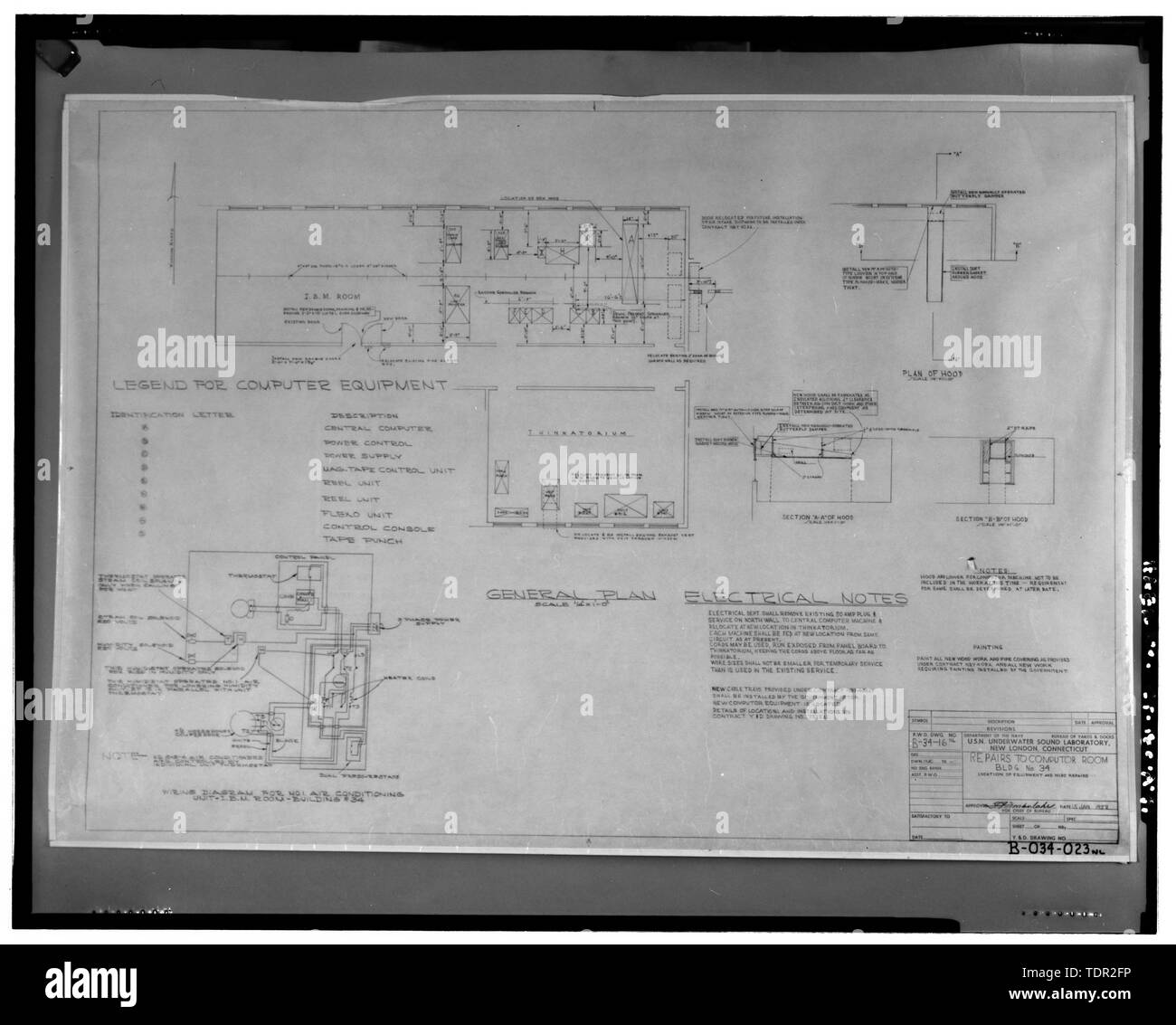 Photograph of plan for repairs to computer room, 1958, prepared by the Public Works Office, Underwater Sound Laboratory. Drawing on file at Caretaker Site Office, Naval Undersea Warfare Center, New London. Copyright-free. - Naval Undersea Warfare Center, Bowditch Hall, 600 feet east of Smith Street and 350 feet south of Columbia Cove, West bank of Thames River, New London, New London County, CT - Stock Image
