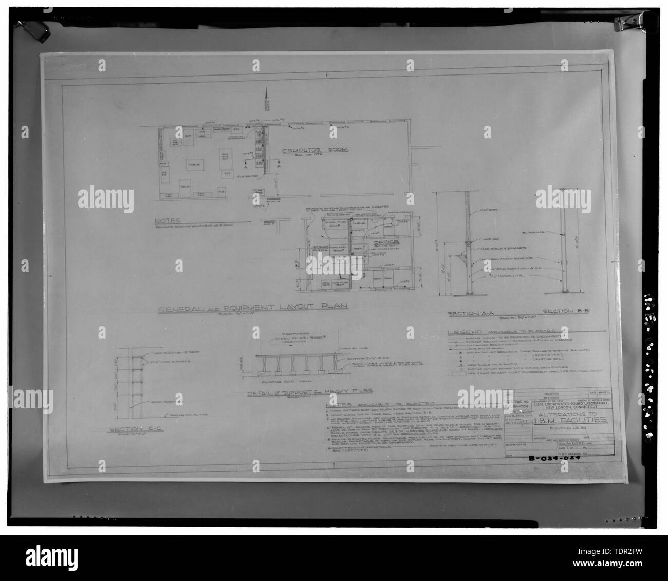 Photograph of plans for alterations to IBM facilities, drawn by U.S. Navy Bureau of Yards and Docks, c. 1960. Drawing on file at Caretaker Site Office, Naval Undersea Warfare Center, New London. Copyright-free. - Naval Undersea Warfare Center, Bowditch Hall, 600 feet east of Smith Street and 350 feet south of Columbia Cove, West bank of Thames River, New London, New London County, CT - Stock Image