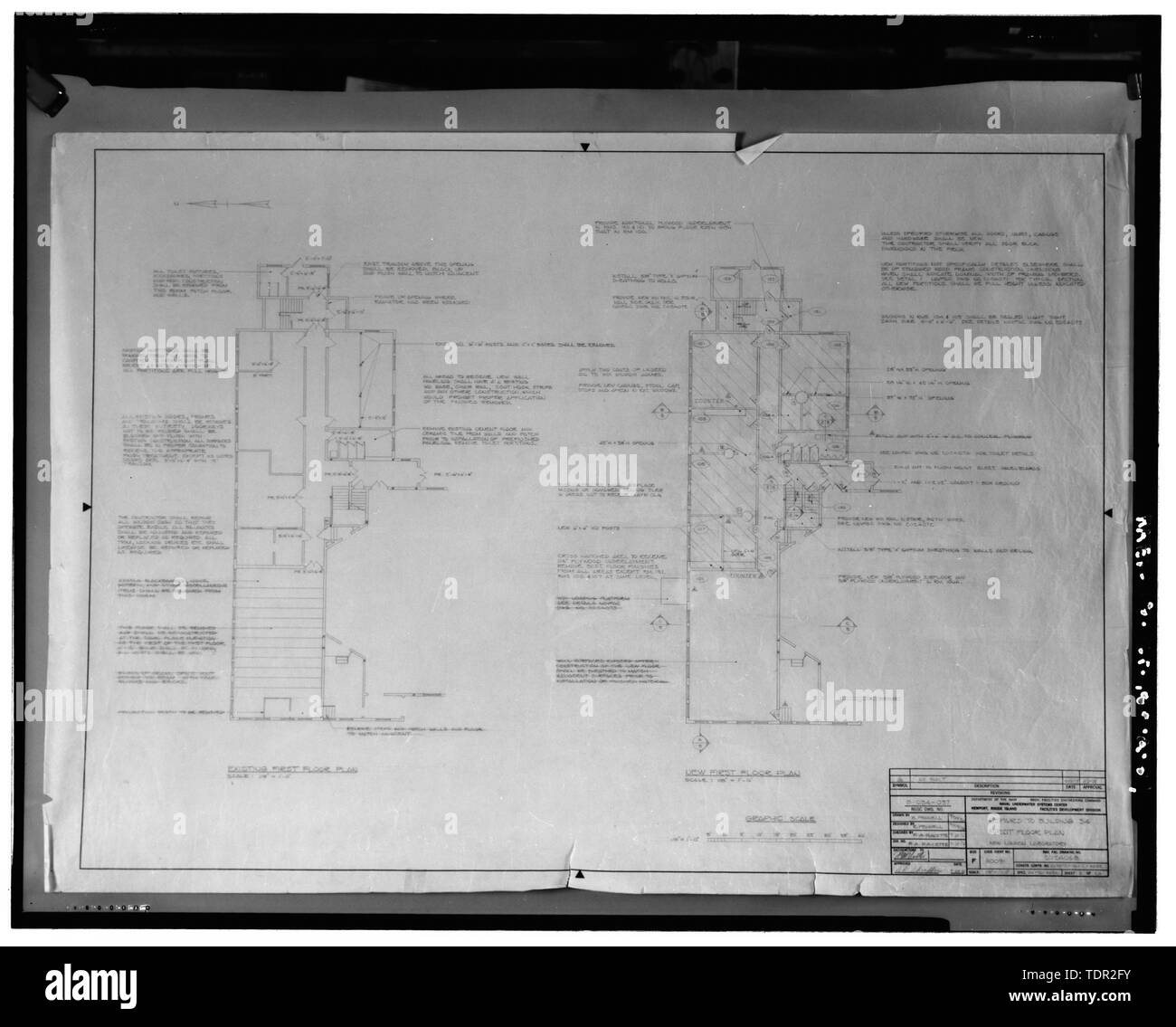 Photograph of plans for repairs to Building 34, first floor plan, 1976-1978, drawn by Naval Facilities Engineering Command. Drawing on file at Caretaker Site Office, Naval Undersea Warfare Center, New London. Copyright-free. - Naval Undersea Warfare Center, Bowditch Hall, 600 feet east of Smith Street and 350 feet south of Columbia Cove, West bank of Thames River, New London, New London County, CT - Stock Image