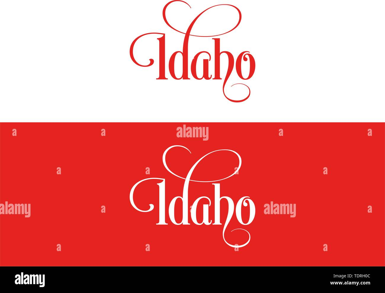 Typography of The USA Idaho States Handwritten Illustration on Official U.S. State Colors. Modern Calligraphy Element for your design. Simple vector l - Stock Vector