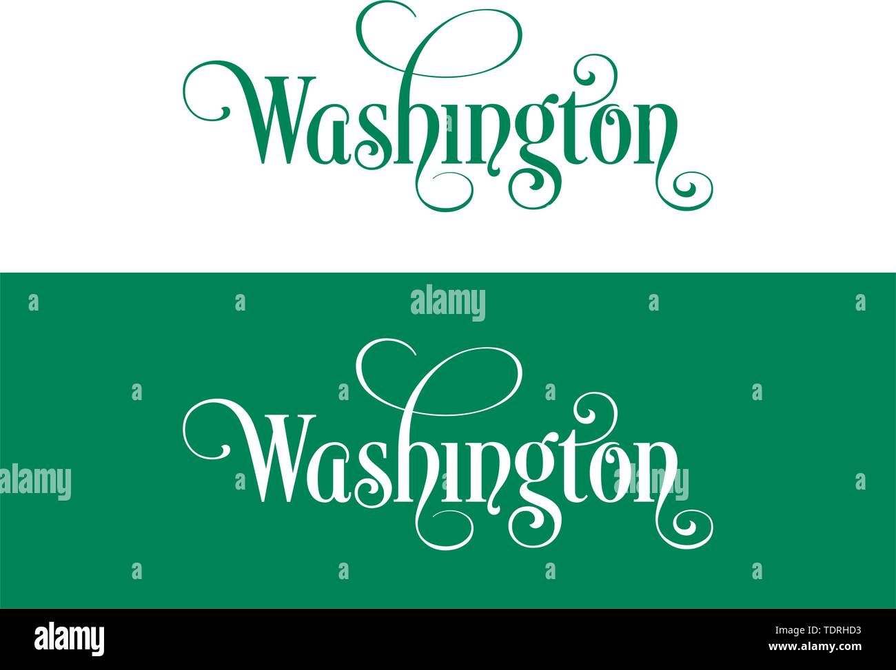 Typography of The USA Washington States Handwritten Illustration on Official U.S. State Colors. Modern Calligraphy Element for your design. Simple vec - Stock Vector