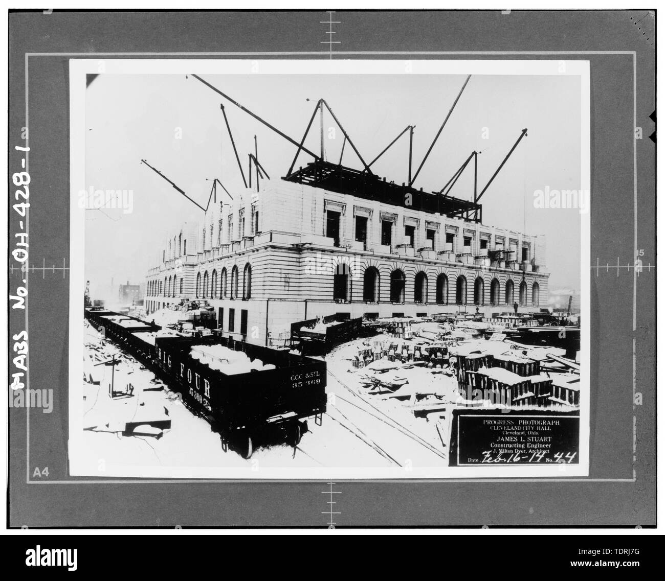 Photographer unknown,Feb. 16,1914,construction photo - Cleveland City Hall, 601 Lakeside Avenue, Cleveland, Cuyahoga County, OH - Stock Image