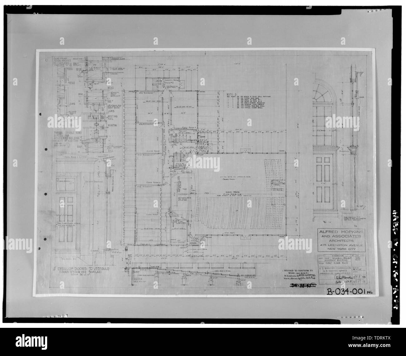 Photographic copy of first floor plan of Bowditch Hall, Alfred Hopkins and Associates, 1943. Drawing on file at Caretaker Site Office, Naval Undersea Warfare Center, New London. Copyright-free. - Naval Undersea Warfare Center, Bowditch Hall, 600 feet east of Smith Street and 350 feet south of Columbia Cove, West bank of Thames River, New London, New London County, CT - Stock Image