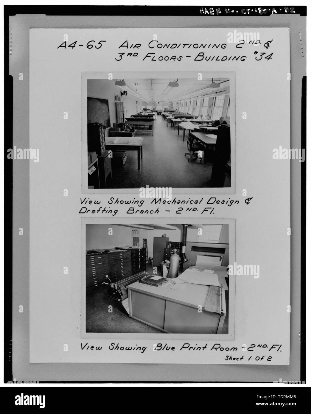 Photographic copy of historic views of interiors of second and third floors, Bowditch Hall, c. 1955, taken from album in building photo files in Caretaker Site Office, Naval Undersea Warfare Center, New London. Copyright-free. - Naval Undersea Warfare Center, Bowditch Hall, 600 feet east of Smith Street and 350 feet south of Columbia Cove, West bank of Thames River, New London, New London County, CT - Stock Image