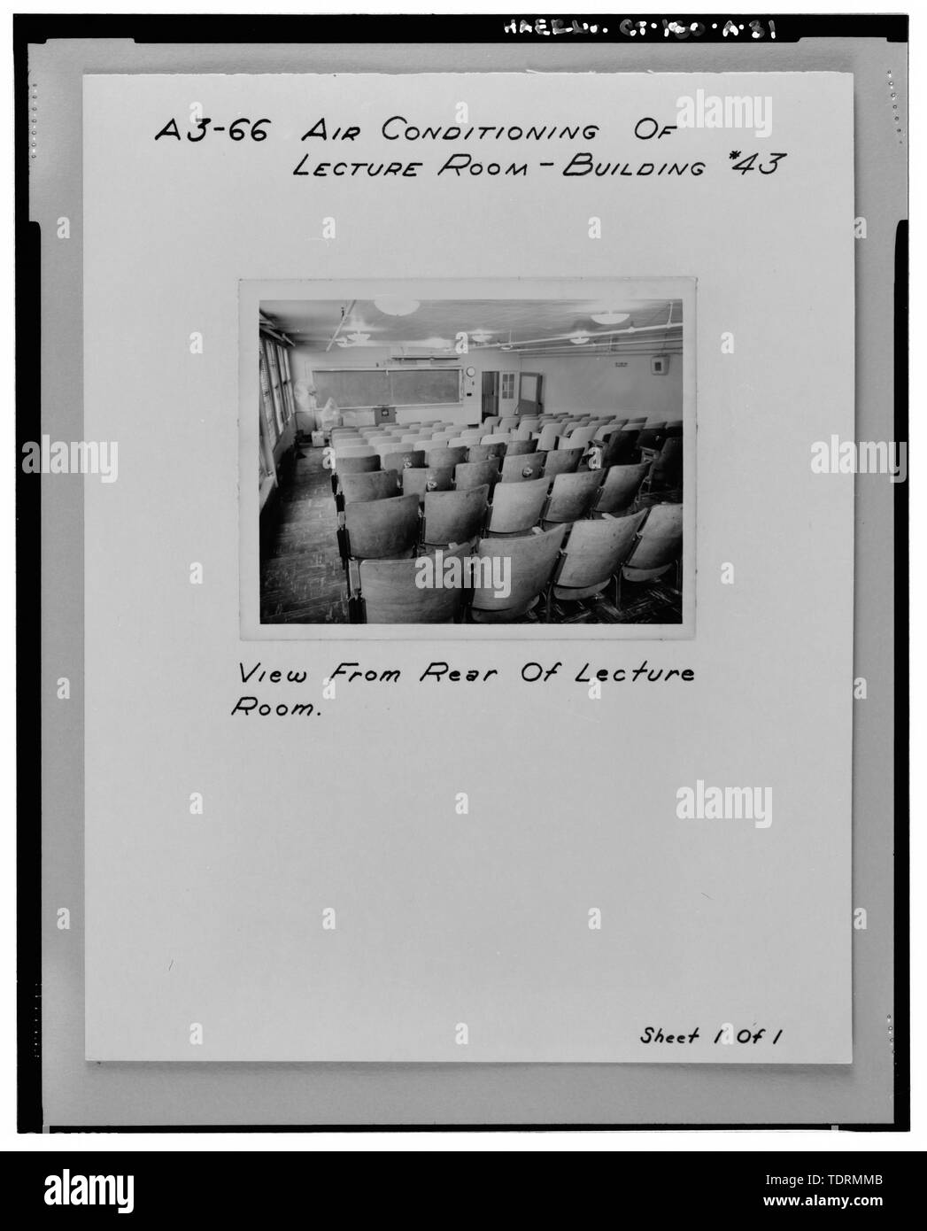 Photographic copy of historic views of lecture room, first floor, Bowditch Hall, c. 1955, taken from album in building photo files in Caretaker Site Office, Naval Undersea Warfare Center, New London. Copyright-free. - Naval Undersea Warfare Center, Bowditch Hall, 600 feet east of Smith Street and 350 feet south of Columbia Cove, West bank of Thames River, New London, New London County, CT - Stock Image