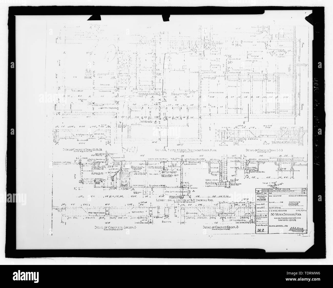 Photographic copy of original construction drawing (dated 1943). Boiler room and water treatment plant longitudinal section - Grissom Air Force Base, Building No. 143, Peru, Miami County, IN; Air Force Base Conversion Agency; U.S. Department of the Navy; Hardlines Design Company, contractor; Portage Environmental, Incorporated (PEI), contractor; Kumar, Rebecca, transmitter; Bates, Jeff, photographer; Atkins, Parker, historian; Lyman, Malini, historian Stock Photo