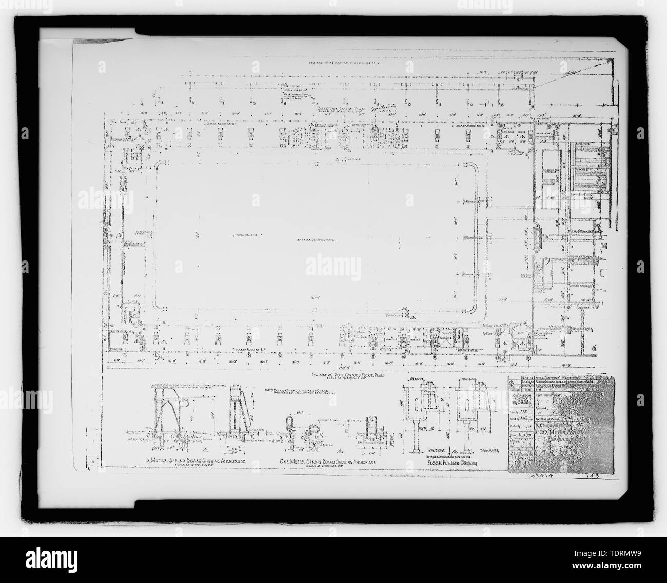 Photographic copy of original construction drawing (dated 1943, in possession of the Grissom Air Force Base Conversion Agency, Grissom Air Reserve Base, Indiana. This source is the same for views 22-25). Ground floor plan - Grissom Air Force Base, Building No. 143, Peru, Miami County, IN; Air Force Base Conversion Agency; U.S. Department of the Navy; Hardlines Design Company, contractor; Portage Environmental, Incorporated (PEI), contractor; Kumar, Rebecca, transmitter; Bates, Jeff, photographer; Atkins, Parker, historian; Lyman, Malini, historian Stock Photo