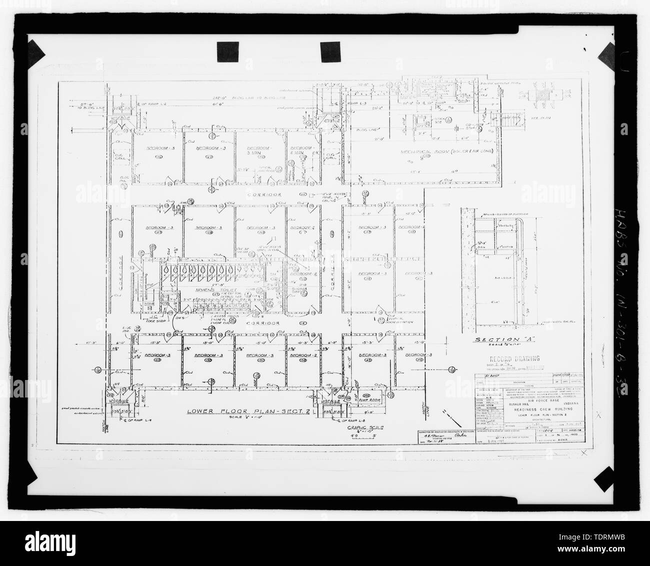Photographic copy of original construction drawing (dated 1959). Plan of middle section of lower level - Grissom Air Force Base, Building No. 747, Peru, Miami County, IN; Air Force Base Conversion Agency; U.S. Department of the Navy; Hardlines Design Company, contractor; Portage Environmental, Incorporated (PEI), contractor; Kumar, Rebecca, transmitter; Bates, Jeff, photographer; Atkins, Parker, historian; Lyman, Malini, historian Stock Photo